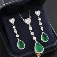 funmode green waterdrop pendant earring necklace sets women party dress accessories jewelry sets wholesale feminina gift fs24