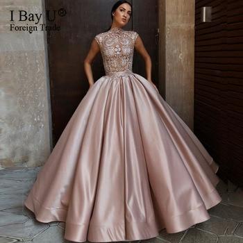 Plus Size Luxury Beaded Lace  Evening Dress with High Neck Sexy Prom Dress Satin Ball Gown vestidos de fiesta de noche abiye
