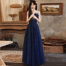 Blue Evening Dress Strapless Spaghetti Strap Sleeveless A-Line Floor-Length Sequins Simple Tulle Wom