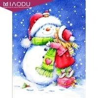 dbqp diamond embroidery christmas snowman girl full square diamond painting landscape diamond mosaic handicraft home decor