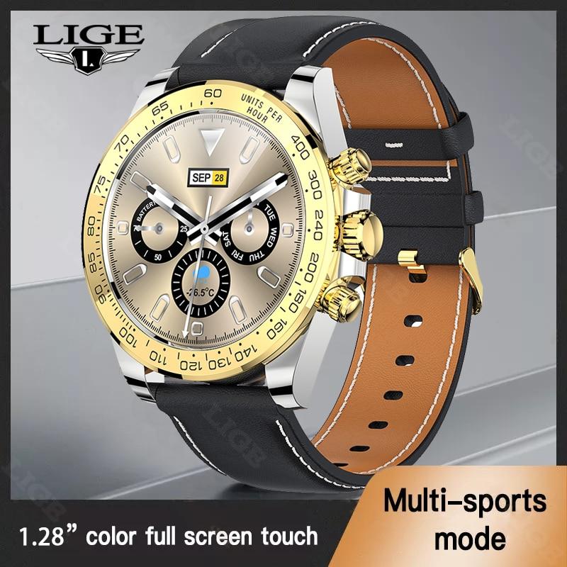 LIGE 2021 New Color Screen Smart Watch Men Full Touch Sport Fitness Men Watch IP68 Waterproof Blueto