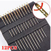 12pcs Self-Threading Sewing Needles Stainless Steel Quick Automatic Threading Needle Stitching Pins DIY Punch Needle Threader