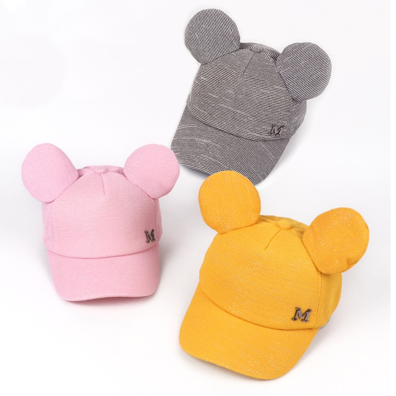 Linda oreja letra niños gorra de béisbol verano malla bebé niña niño sombrero ajustable Snapback bebé sol sombrero niños gorra de Hip Hop Bonnets