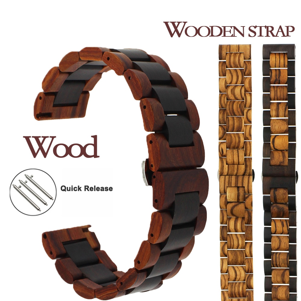 20/22mm For Xiaomi Huami Amazfit GTS Bip GTR 47mm Pace Stratos 2 3 Wooden Bracelet Watch Strap For H