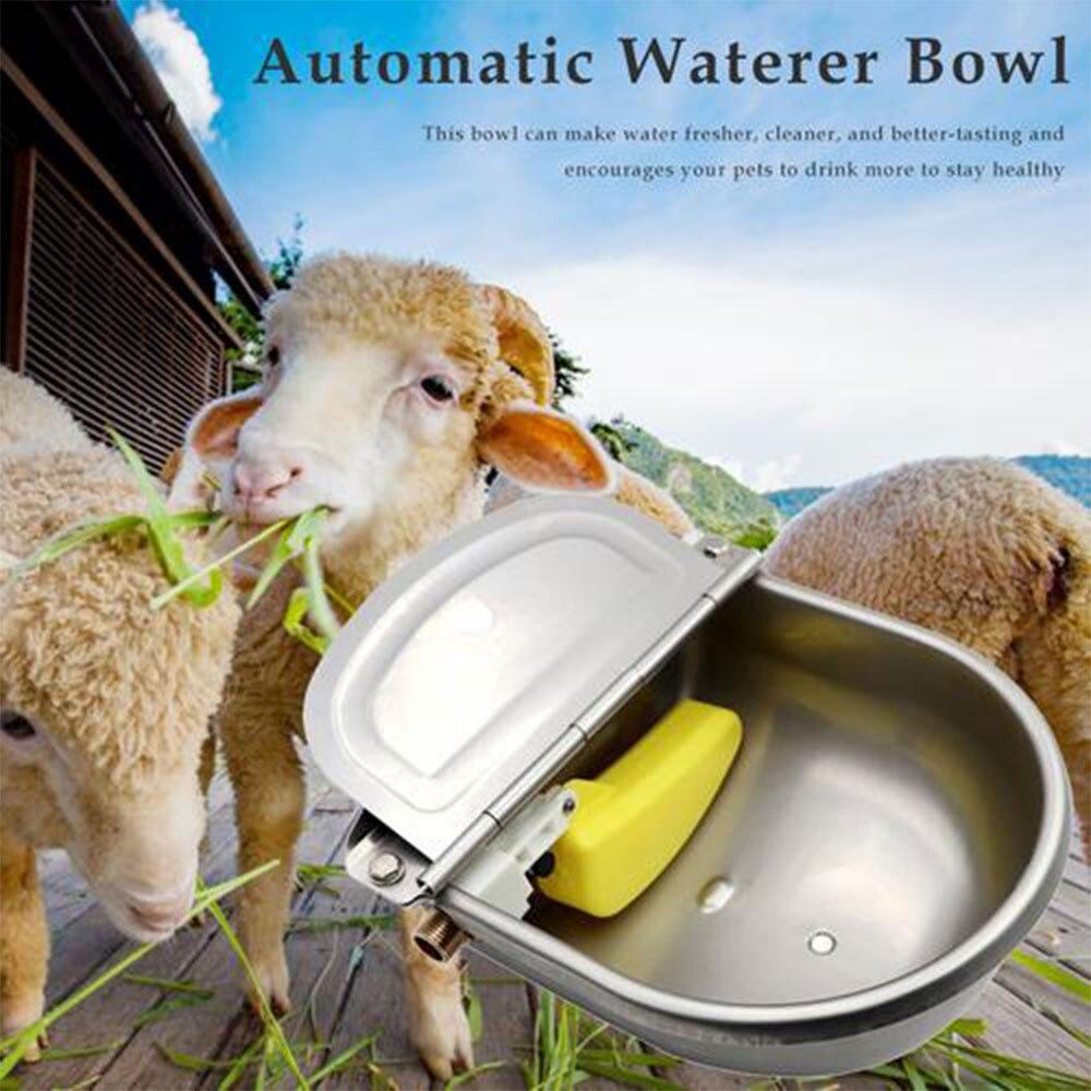 Bebedero automático, cuenco para el ganado de caballos, cuenco para beber con válvula de flotador de agujero de drenaje, suministros agrícolas de agua, oveja, cerdo, perro
