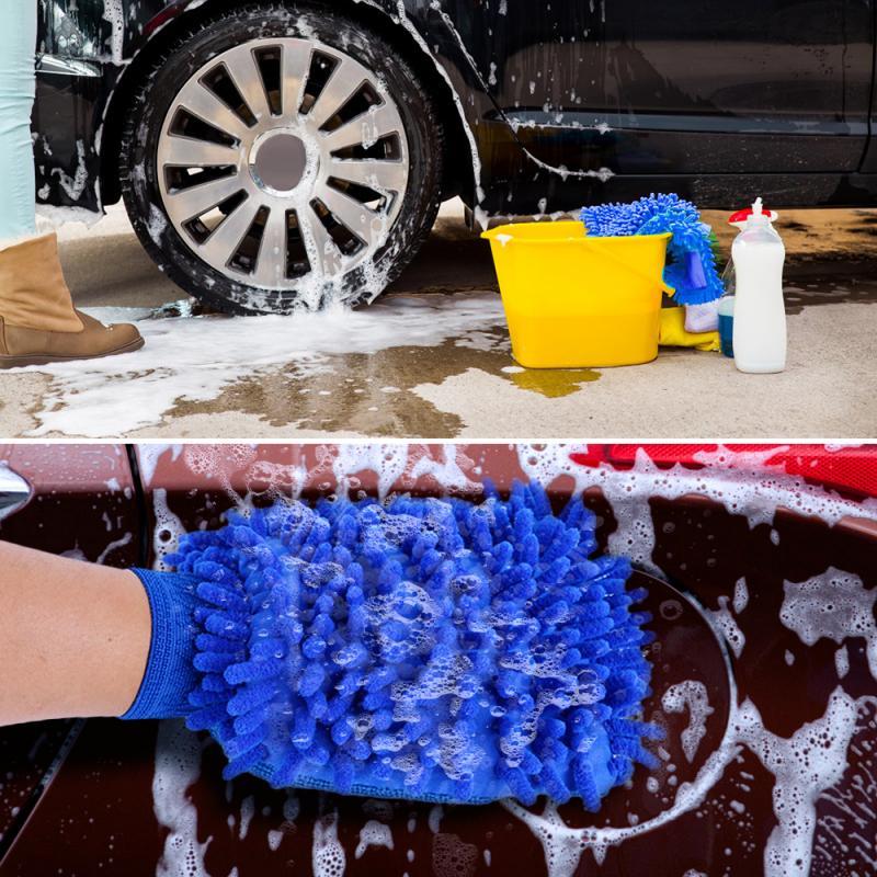 Luvas de limpeza de carro, luva dupla face de microfibra, pano de limpeza, luvas, chenille, windows, espelho, cuidados com o carro, ferramenta de lavagem