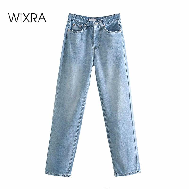 سراويل جينز مريحة بخصر عالٍ للنساء من Wixra للصيف ملابس خروج مغسولة للخريف 2021