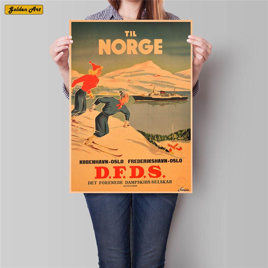 Póster de viaje de la ciudad de Noruega pintura de paisaje antiguo papel Kraft clásico pintado a mano arte adhesivo decoración del hogar 42x30cm
