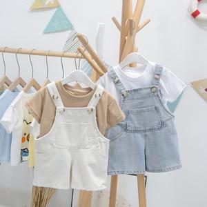 Toddler Boys Overalls Summer Casual Big Pocket Jumpsuit for Girl 1 2 3 4 5 Years Toddler Baby Boy Denim Shorts Summer Boy Pants