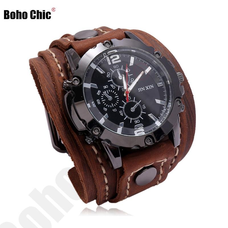Boho Chic Men Watch Quartz Luxury Wristwatches Fashion Blue Glass Punk Style Hippie Women Leather Br