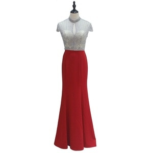 High Neck Beaded Mermaid Evening Gowns for Women Short Sleeves Red Floor To Length Fashion Party Dresses Women Evening Elegant