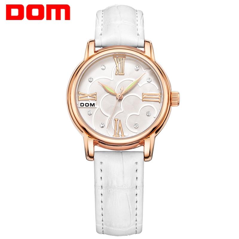 Watch women DOM Brand luxury Fashion Casual Lady Wrist watches leather waterproof quartz Stylish relogio feminino G-1028