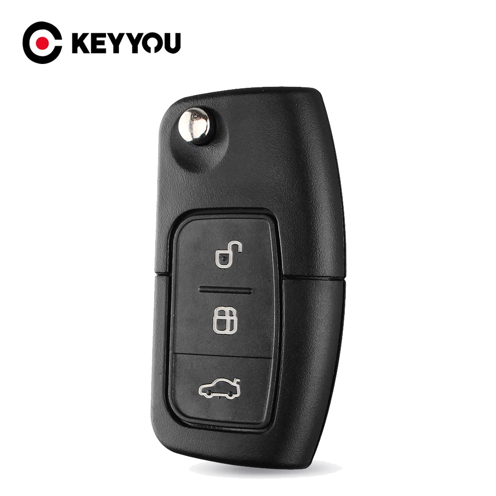 Keyyou dobrável escudo da chave do carro caso fob remoto para ford focus mondeo 2 3 fiesta max ka chave capa fo21 hu101 sem corte lâmina