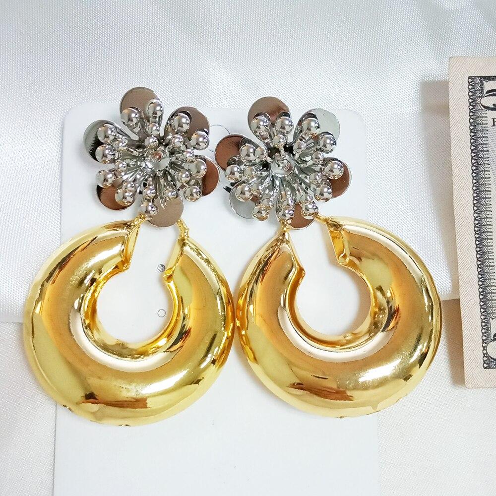 Bonitos pendientes de mujer pendientes de Oro africano 2 tonos de color cobre flor cabeza redonda gota dubai joyas aretes dorados conjuntos