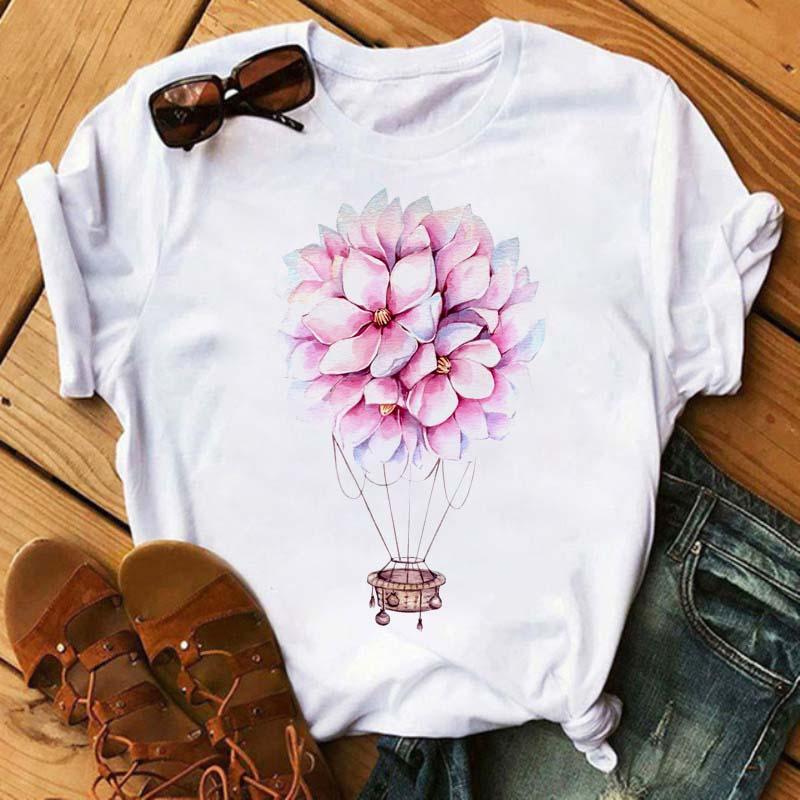 Maycaur, globo de aire caliente, camisetas de flores para mujer, camisetas de manga corta Vogue para mujer, camiseta de gran tamaño, camiseta gráfica Kawaii para mujer