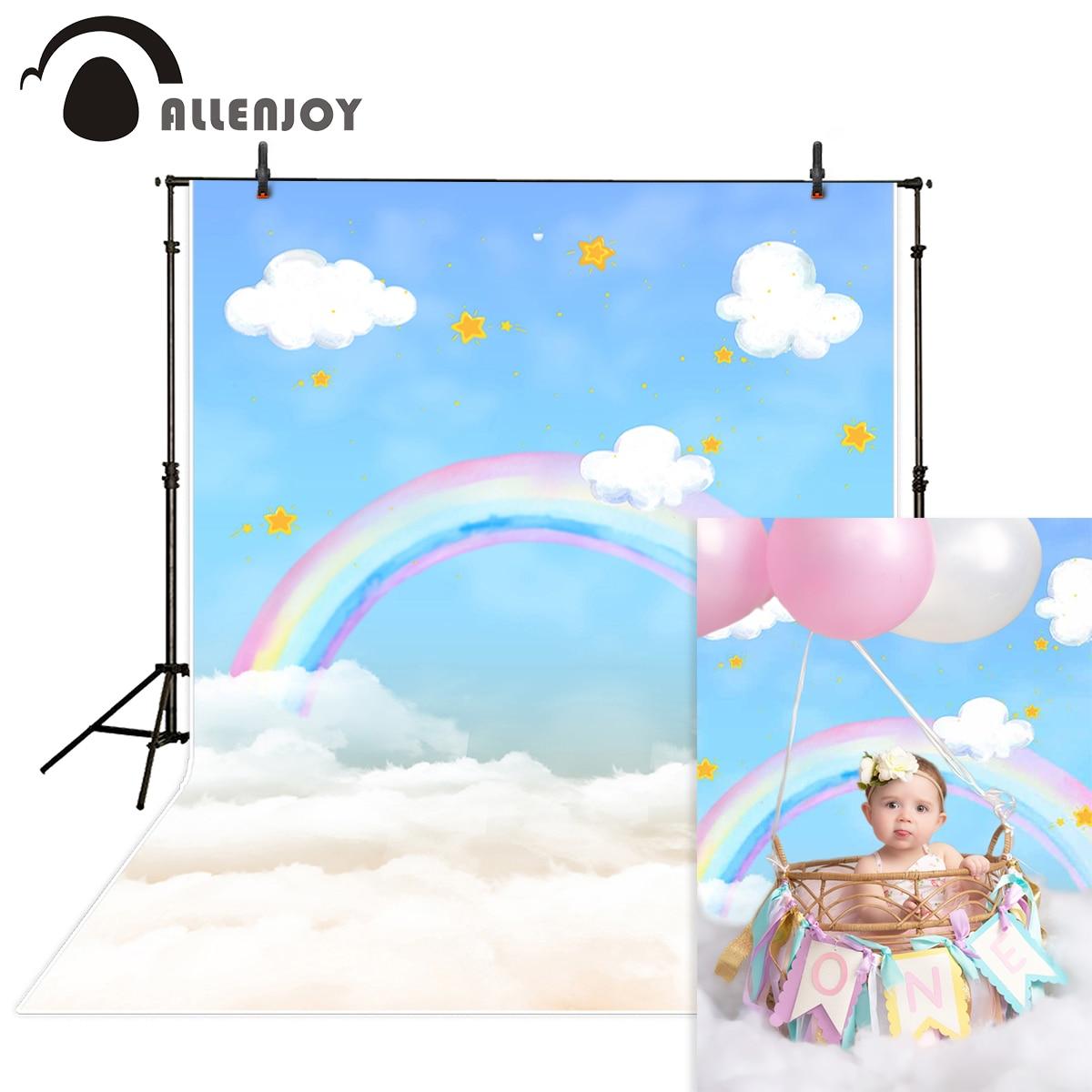 Allenjoy Arco Iris fotografía backdrops nube de dibujos animados cielo azul niño 1er cumpleaños photophone foto de fondo photocall estudio