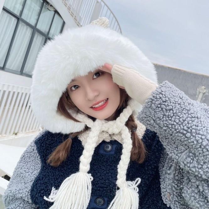 Winter Cute Cat Ears Women Plush Thickened Knitted Imitation Fur Tassel Braid Girl Coarse  Hat Outdo