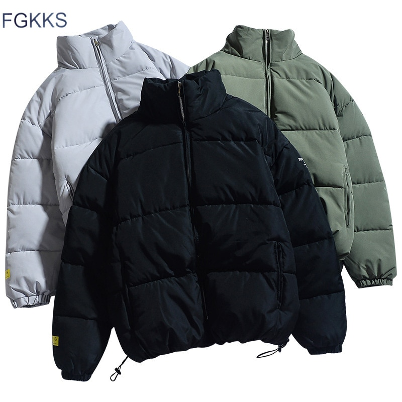 FGKKS-جاكيت شتوي للرجال بلون سادة ، وسترات دافئة وسميكة ، ومعطف كاجوال عصري ، وعلامة الجودة