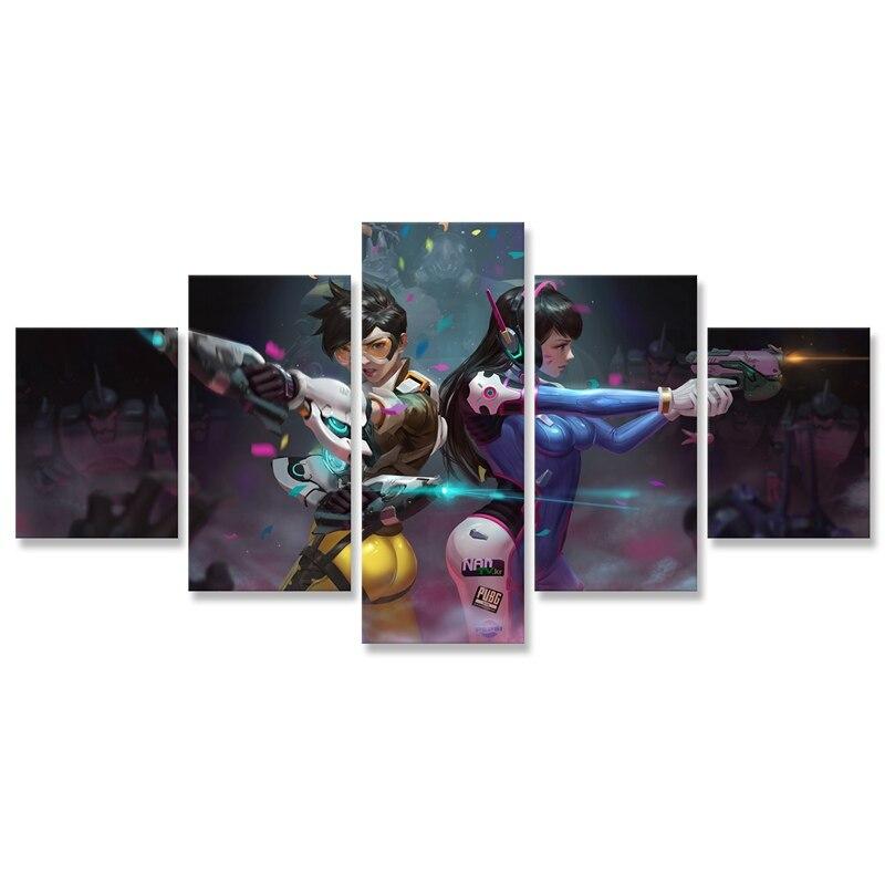 Fans de peinture toile 5 pièces   Traceur D.Va filles et pistolets, Fan Art mur décor Cuadros décoration