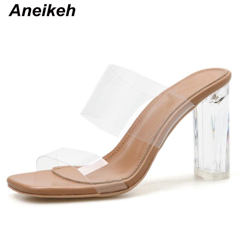 Aneikeh 2020 sexy sandálias pvc quadrado cabeça bombas sapatos mulher fetiche fino salto alto peep toe stripper deslizamento-on festa de casamento sapatos