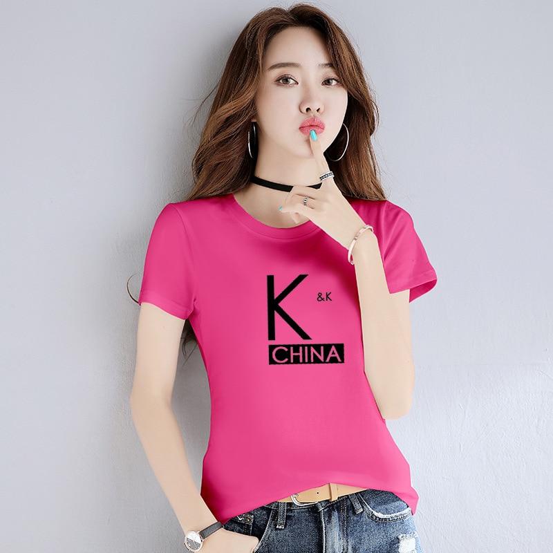Camiseta de mujer, ropa 2019, camiseta de moda azul, camiseta negra, Camiseta de algodón a la moda para mujer