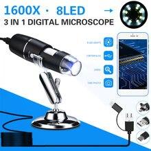 0.3 mp el düzenlenen endoskop dijital mikroskop 1600X 8LED ABS su geçirmez fotoğraf bilgisayarlar gerçek zamanlı Video muayene izleme