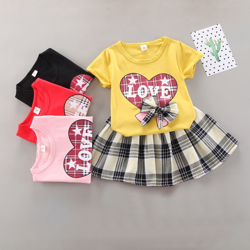 2021 Baby Girl Clothes Sets Kids Summer Designer Outfit Pink Free Shipping Suit Cute Costume Shorts Skirt Tops 2 Piece 2-8 years