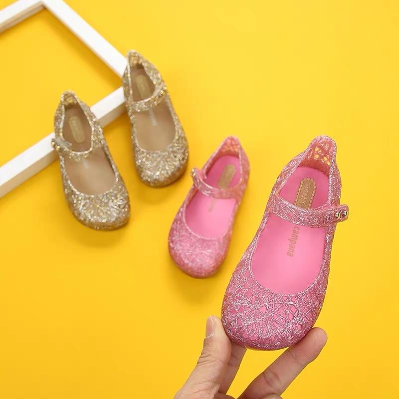Mini Melissa Original Crystal Shoes New Children Mesh Hole Shoes Girl Jelly sandalias niños sandalias de playa zapatos antideslizantes