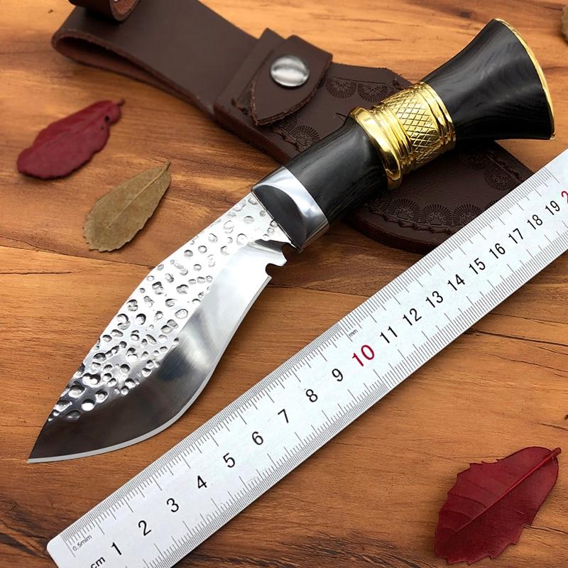 Охотничий нож ручной работы в Непале с высокой твердостью и деревянной ручкой, походный нож, маленькие инструменты для выживания Kukri cuchillo tactico