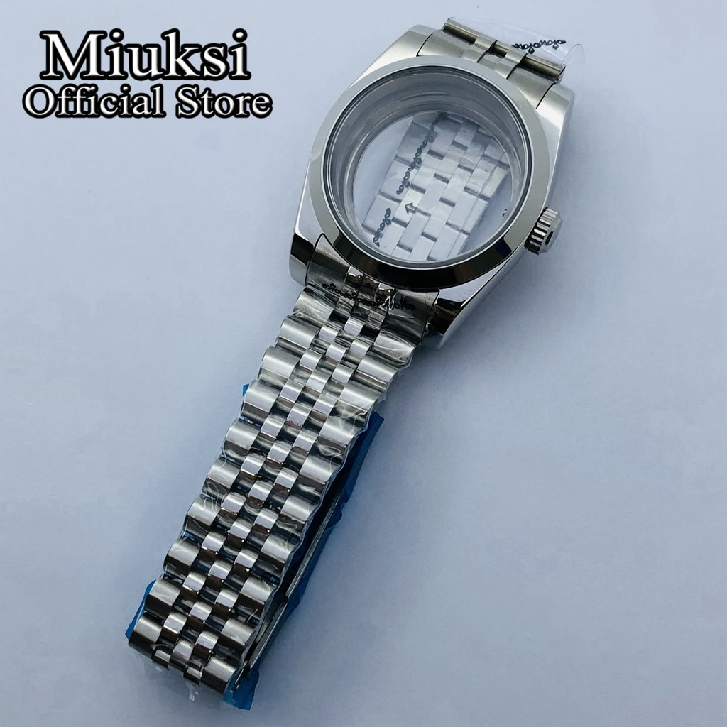 Miuksi 36mm/40mm sapphire glass silver case jubilee bracelet fit NH35 NH36 ETA2836 Miyota 8205 8215 821A DG2813 3804  movement enlarge