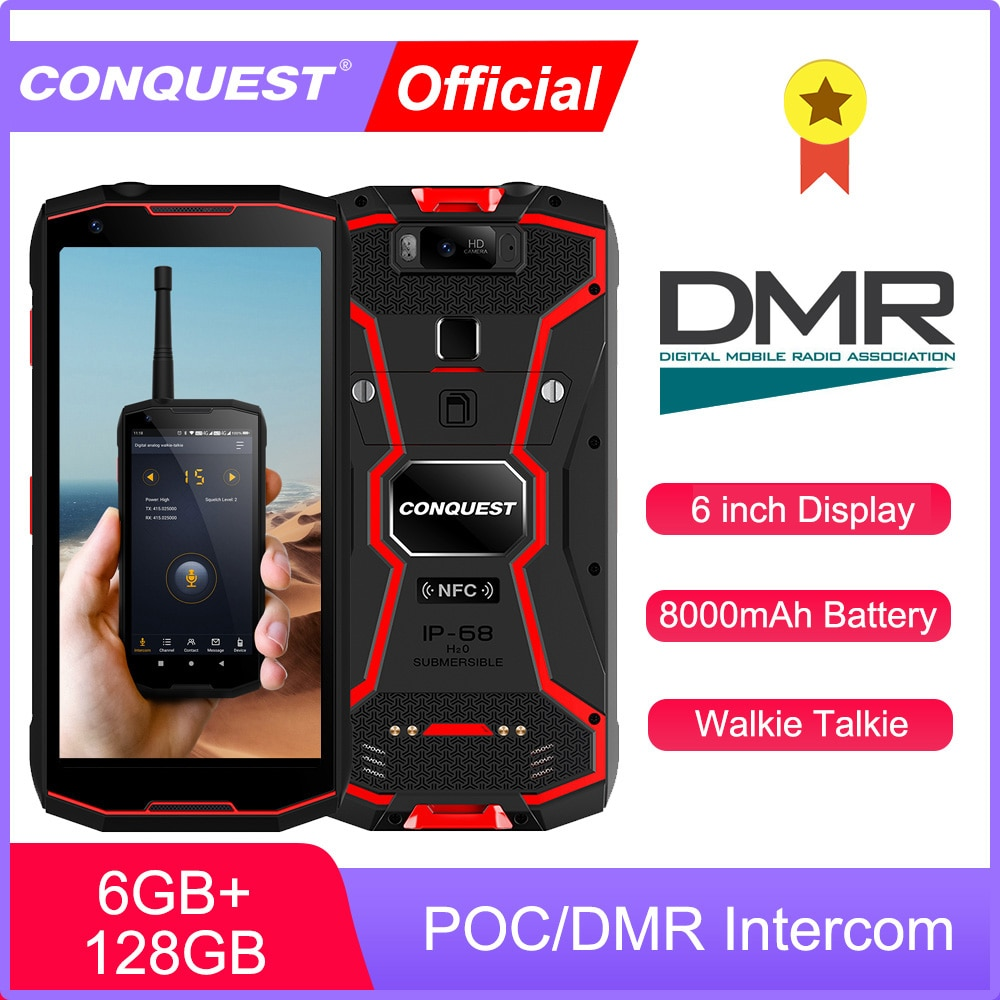 CONQUEST POC/DMR Walkie Talkie Phone IP68 Waterproof Smartphones Rugged Smartphone S12 Pro Cell phone Cellphones  Mobile Phones