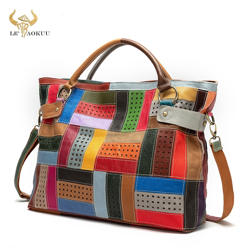 New Multi-Color Soft Natural Leather Luxury Ladies Patchwork Large Shopper Handbag Shoulder bag Wome