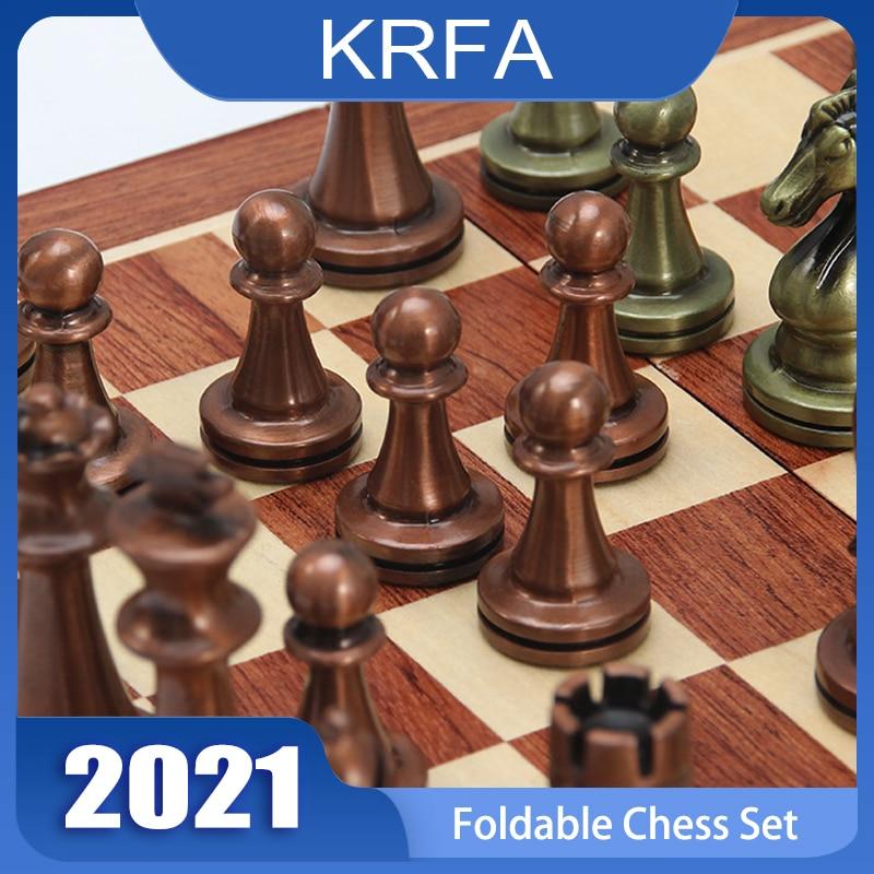 Металлические международные шахматы, металлические шахматы, деревянные складные шахматные доски, головоломки, игры, высококлассные украше...