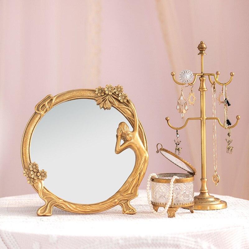 Europeu Retro Estilo Palácio Menina Coração Ins Maquiagem Espelho Penteadeira Presente Personalidade Criativa