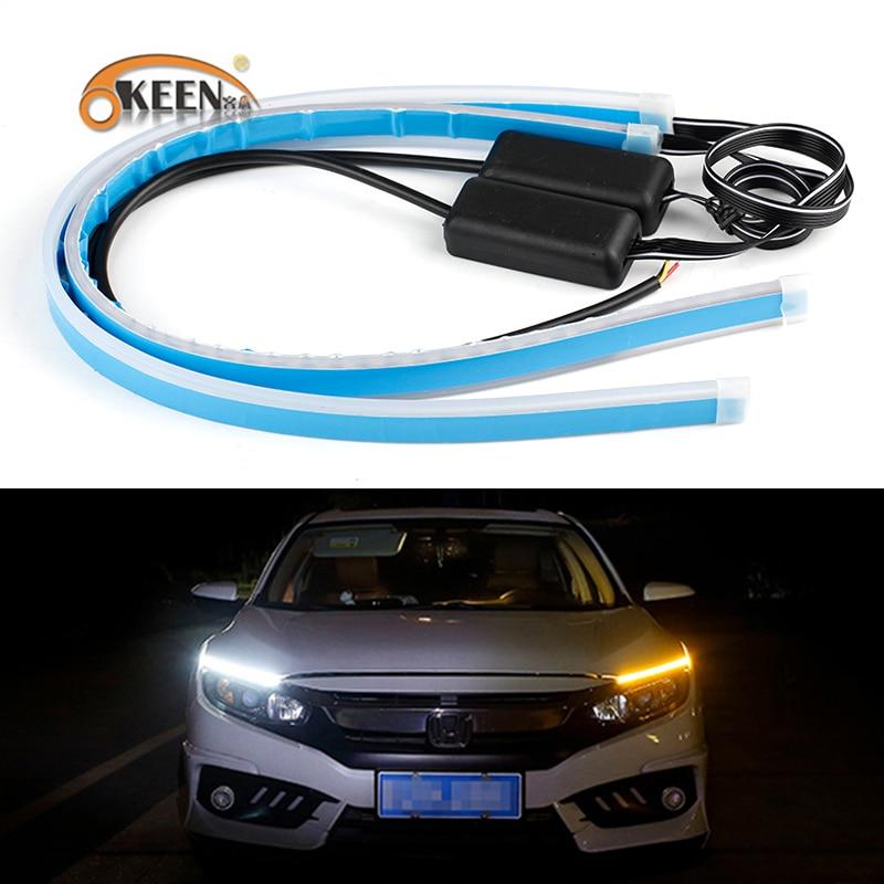 OKEEN 2pcs Car Styling Ultrafine 30cm 45cm 60cm LED DRL Flexible Angel Eyes Headlights Yellow Turn Signal White Running Lights