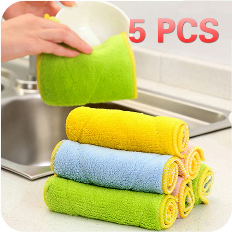 5Pcs Non-Stick Oil Dish Towel Kitchen Dish Cloth Washing Cloth Microfiber Absorbent Cleaning Towel Kitchen Dishwashing Cleaning недорого