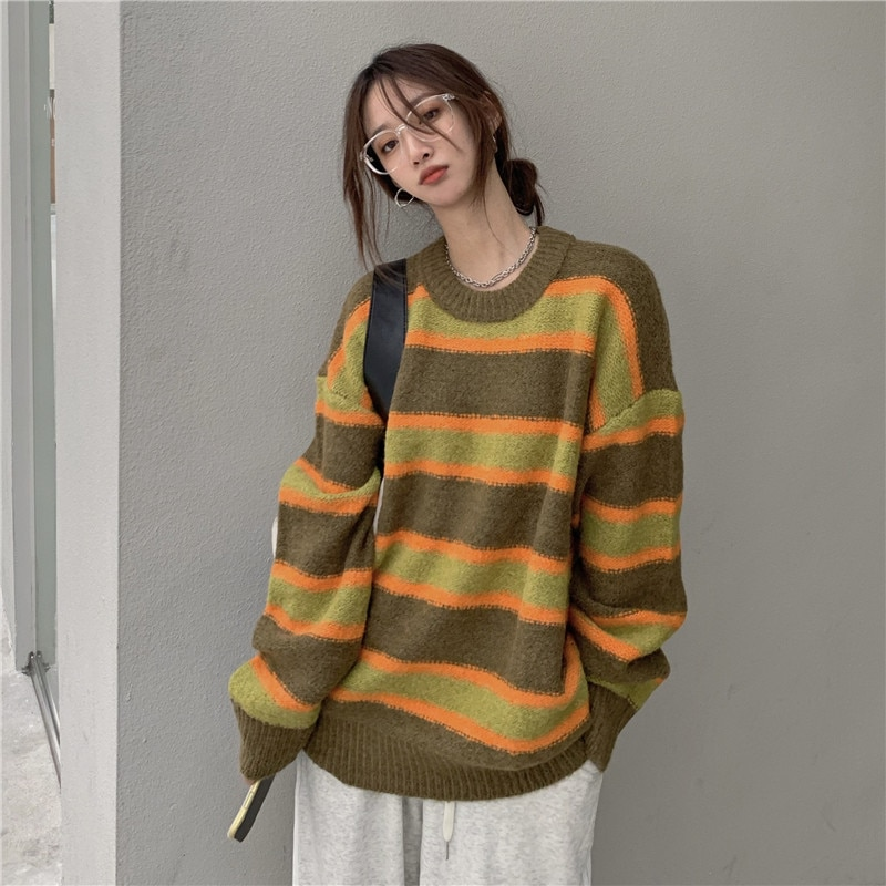 New women all-match striped sweater casual lazy fashion knitted top women