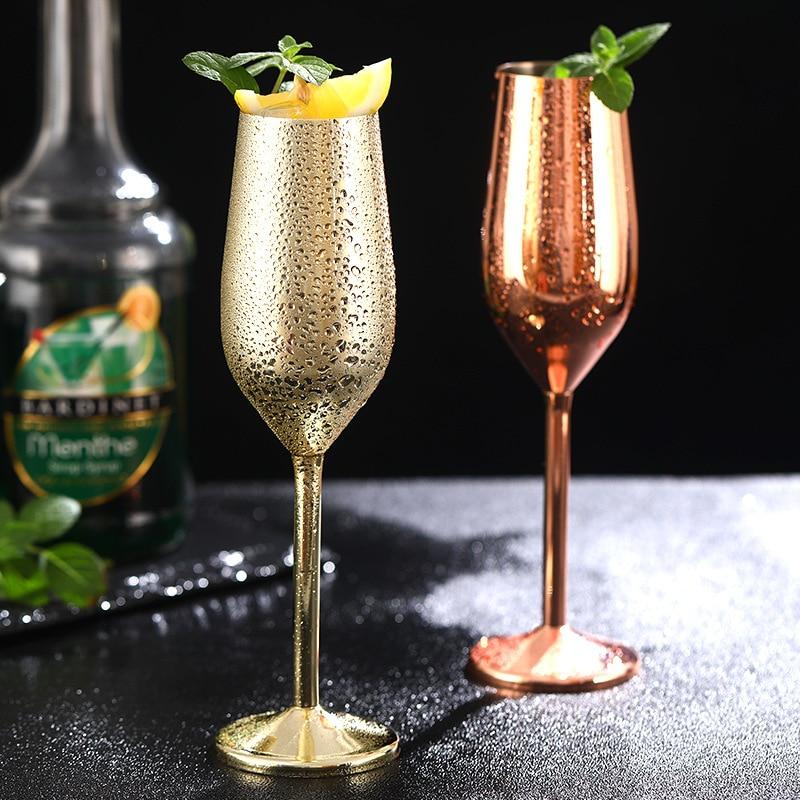 200ml de aço inoxidável champanhe taça de vidro barra de vidro espumante queda-resistente europeu bolha vidro de casamento vinho doce h
