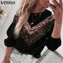 VONDA Vintage chandails grande taille femmes léopard Patchwork Blouses tricots de style décontracté à manches longues col rond tricoté pull S-5XL