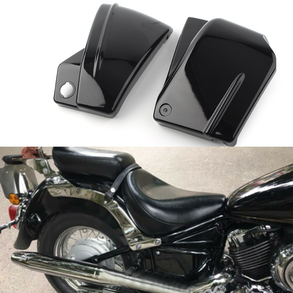 2Pcs Motorcycle Side Fairing Battery Cover Left & Right For Yamaha V-Star DragStar 650 XVS650 XVS650A Custom Classic Black