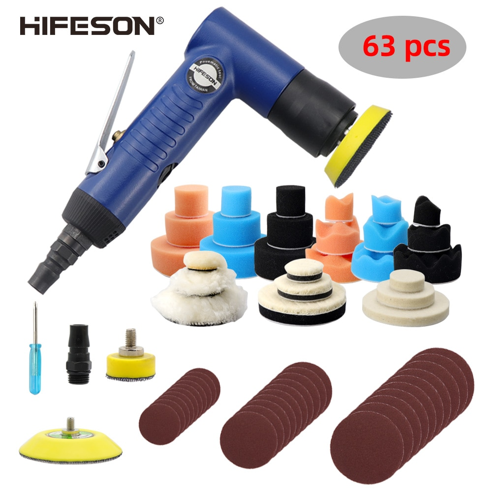 HIFESON عالية الجودة 63 قطعة آلة الصنفرة الهوائية 1/2/3 بوصة آلة تلميع الصبح جهاز لسنفرة الخشب الملمع الصنفرة