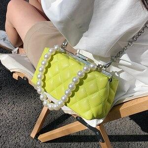 Retro Square Tote Bag New Pearl strap High-quality Pu Leather Women's Designer Handbag Chain Shoulder Messenger Bag Travel Bag