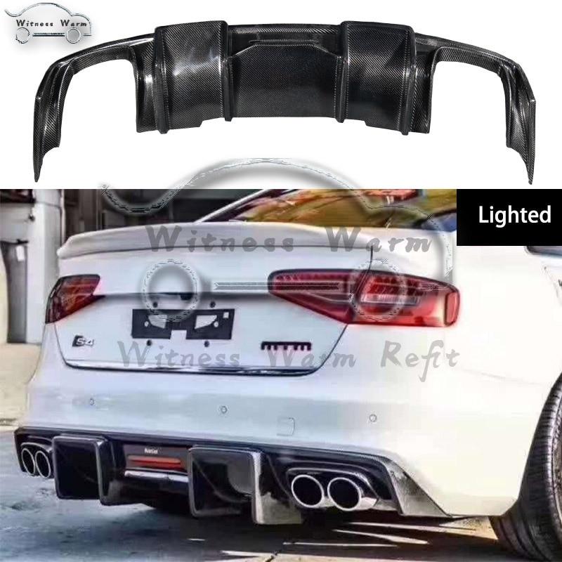 Carbon Fiber Rear Bumper Diffuser Lip Spoiler with LED Lights For Audi A4 B8.5 Sport Sline And S4 bumper 2013-2015