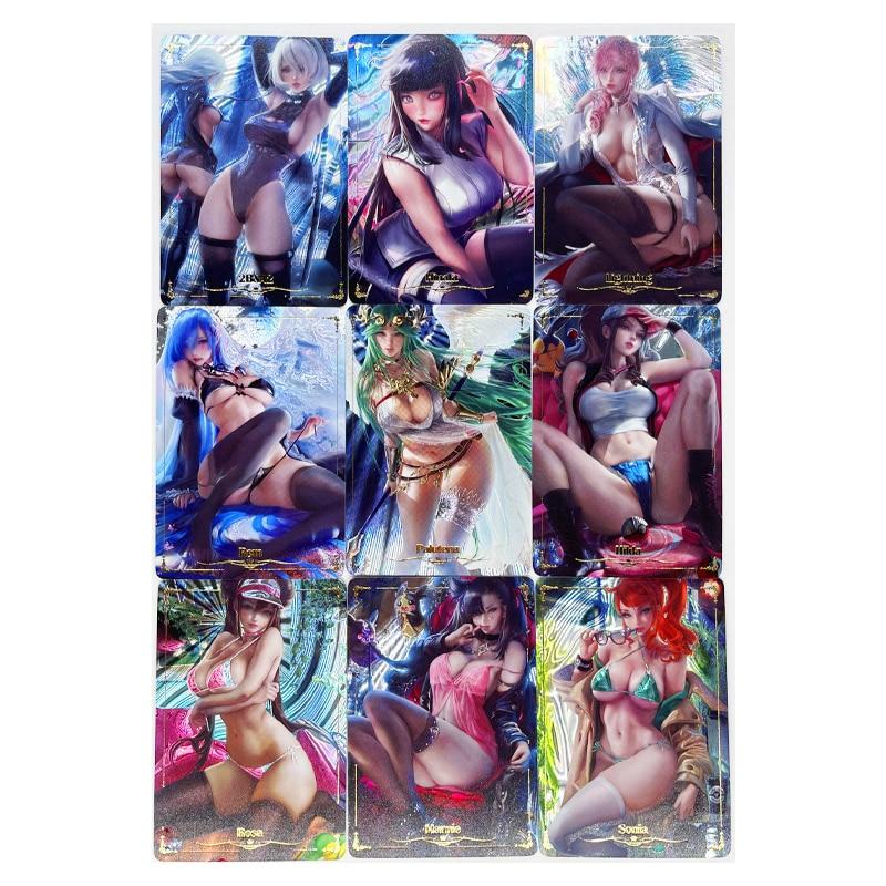 9pcs/set ACG Sexy No.2 Beauty Demon Slayer Kimetsu No Yaiba Laser Technology Toys Hobby Collectibles Game Collection Anime Cards