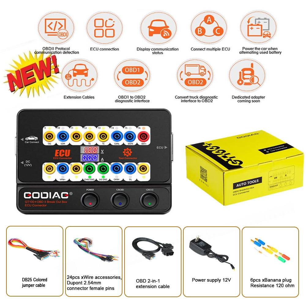 GODIAG GT100+  New Generation OBDII Breakout Box with Electronic Current Display