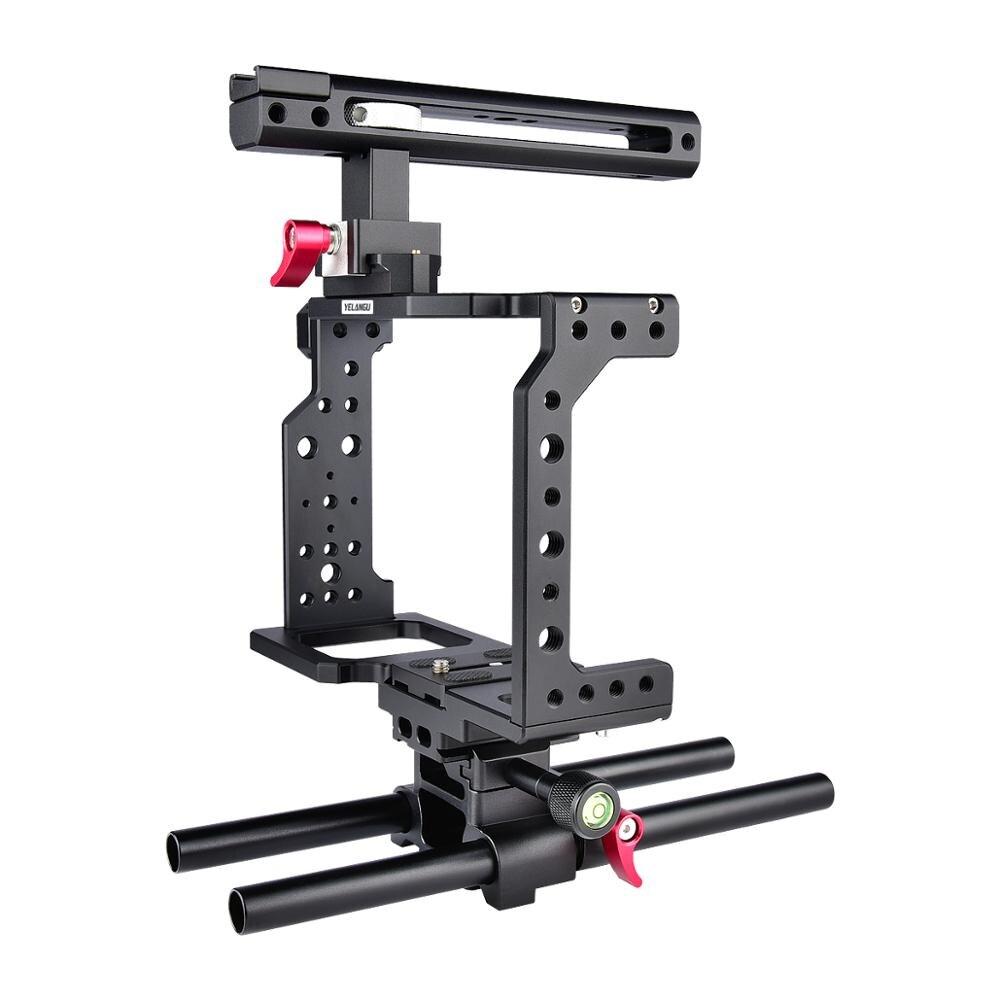 طقم صنع فيلم كاميرا DSLR ، قفص ألومنيوم أسود ، لكاميرا Canon DSLR ، بمقبض علوي YELANGU C8