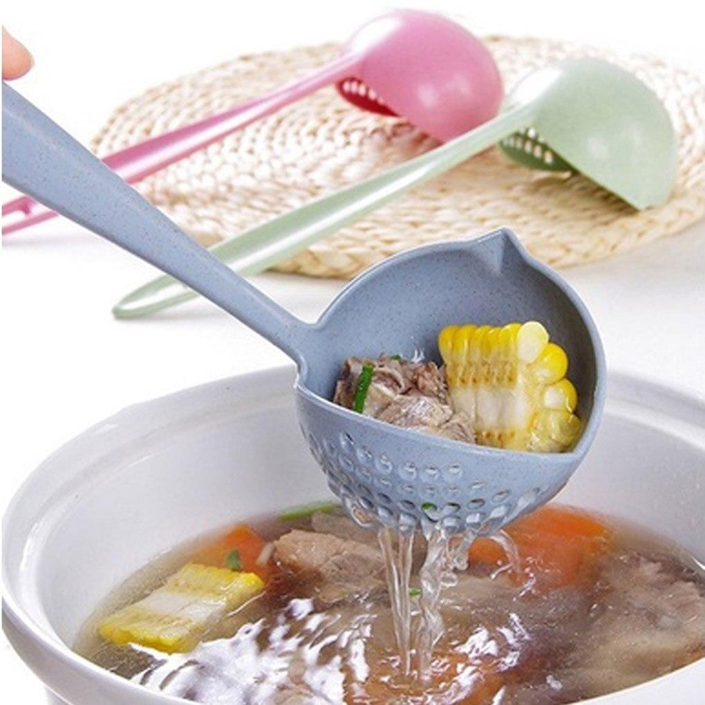 Горячая продажа 2 в 1 длинная ручка ложка для супа домашнее сито для приготовления пищи дуршлаг кухонный ковш пластиковая посуда