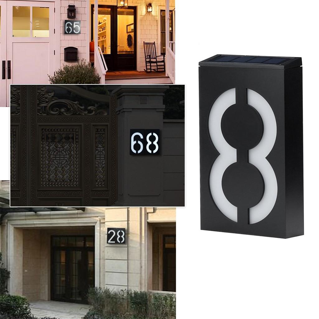 Luz LED de energía Solar, número de puerta de Hotel, número de puerta, dígitos, placa de número de placa de buzón