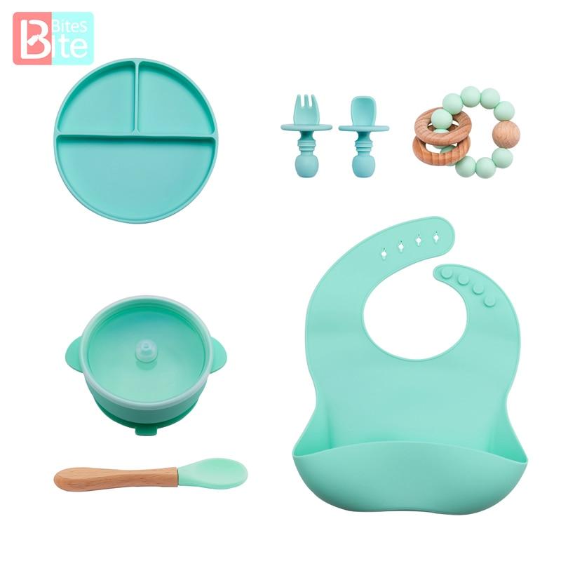 7 шт., детский набор для кормления, без БФА, силиконовая вилка, ложка, тарелка, миска, принадлежности для кормления детей, детская посуда