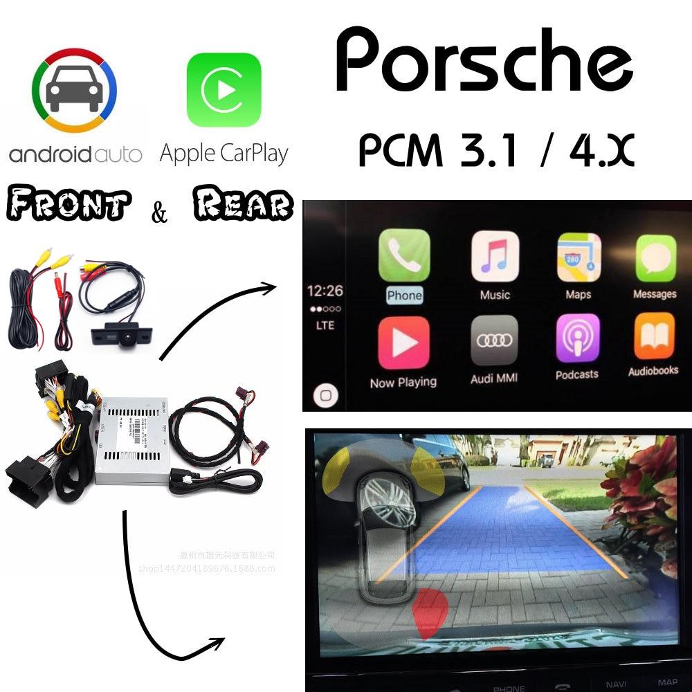 Para porsche cayenne macan panamera 982 718 991 911 carplay caixa traseira & frontal câmera interface bluetooth display melhorar o automóvel android